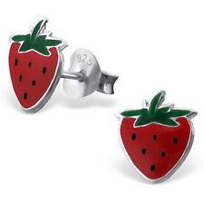 925 Sterling Silver Strawberry Kids Girl Women Stud Earrings Jewellery Gift