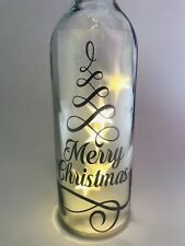 Merry Christmas Vinyl Decal Sticker For Wine Bottle in silver