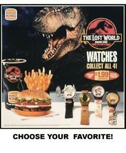 Burger King 1997 Vintage Jurassic Park Lost World Dinosaur Watches-Pick Your Fav
