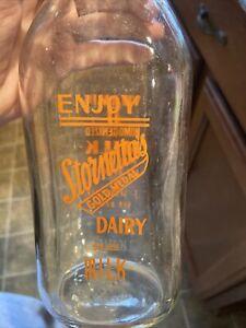 Ultra Rare Stornetta's Dairy ACL Quart Milk Bottle Sonoma Napa California CA