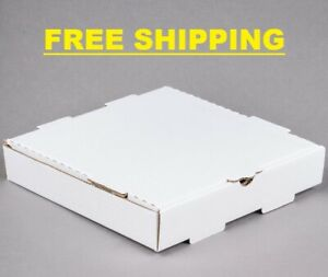 "(50-Pack) 10"" x 10"" x 2"" White Corrugated Plain Pizza / Bakery Box"