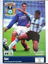 Coventry City v Ajax Pre Season Friendly 2000/01 Mint condition