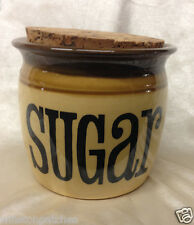 T G GREEN ENGLAND GRANVILLE SUGAR JAR WITH CORK TOP TAN WITH BROWN EDGE