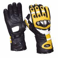 Winter Leather Gloves Motorcycle Motorbike Racing Thermal Yellow/Black
