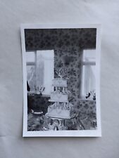 1962 B/W Photograph. Tiered 1960s Wedding Cake. Rose Wallpaper Interior. Home