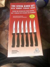 MasterChef 7PC Steak Knife Set + Wooden Storage Block Never Needs Sharpening NEW