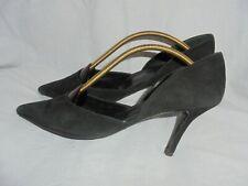 L.K. BENNETT WOMEN BLACK SUEDE LEATHER SLIP ON HEEL SHOES SIZE UK 6 EU 39 VGC
