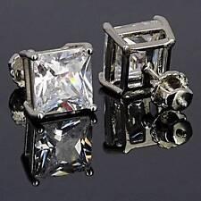 Princess-cut Sterling Silver Lab Diamond Screw Back Stud Earrings Size 10mm