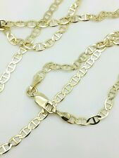 """10k Solid Yellow Gold Mariner Anchor Necklace Pendant Chain 20"""" 3.2mm"""