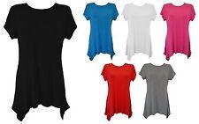 New Women Ladies Plain Short Sleeve Uneven Hem Smock Top Plus SIze 14-28