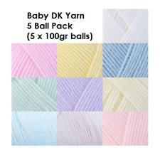 5 x 100g Baby DK, Baby Acrylic Wool, Soft DK Double Knitting Wool