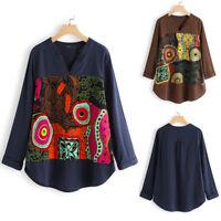 ZANZEA Femme Vintage Haut Manche Longue Pur coton Chemise Shirt imprimé Plus