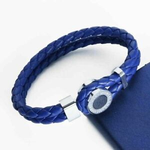 Montblanc Meisterstuck Leather Bracelet 111402 Iconic Collection with Blue Onyx