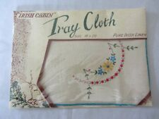 Vintage cream IRISH LINEN EMBROIDERED TRAY CLOTH TABLE CENTRE butler UNOPENED