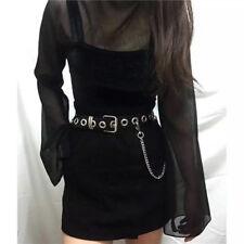 160cm Synthetic leather Punk Rock Black Metal Hole Waist Belt For Women Girls