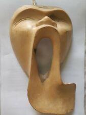 Hibiscus Wood Mask SCREAM Original Hand Carved Wall Art NOVICA Bali INDONESIA
