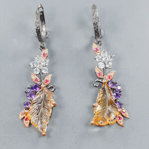 Carving gem earrings Ametrine Earrings Silver 925 Sterling   /E54835