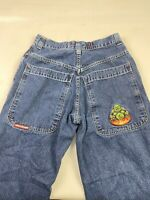 """JNCO BUDDHA Baggy Fit 24"""" Wide Leg Blue Jeans Men's 32x28 RARE VINTAGE 90's 2207"""