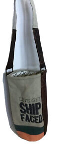 Mona B Let's Get Ship Faced Khaki Canvas and Leather Wine Bottle Bag Tote