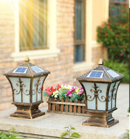 Solar Powered LED 2 Colors Metal Lantern Glass Exterior Pillar Lights Coach Lamp