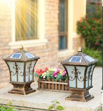 Retro Solar Power Lantern Glass Gatepost Lamp LED Pillar Mounted Coach Light DIY