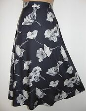 NWT Laura Ashley 100% viscose grey/ivory poppies, lined, flattering skirt 8 UK