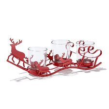 Tealight Sleigh with 3 glass holders NEW boxed