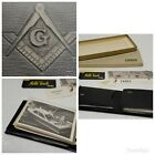Vintage 60's FREE MASON MASONIC Leather Wallet *NEW with original box and papers