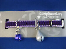 Cat Collar - Diva Velvet Stitch Purple with Safety Elastic & Teardrop Bell