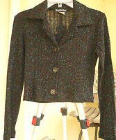 MADE IN USA VTG S M BLACK CROP TOP SPECKLED GRANNY CARDIGAN  WOMEN SWEATER TOP