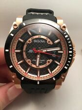 Bulova Mens Precisionist Champlain Rose Gold Black Rubber Strap Watch 98B152-R15