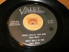 STEVE MARKS - KISSES SWEETER THAN WINE + 3 - EP VALUE    / LISTEN - ROCK POPCORN