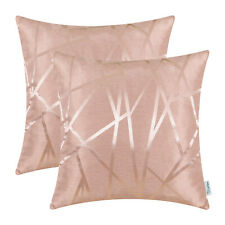 2Pcs Dusty Pink Cushion Covers Pillows Case Geometric Abstract Lines Sofa 16x16""