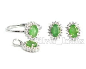 7x5MM Natural Zambian Emerald Gemstone 925 Sterling Silver Jewelry Set For Women