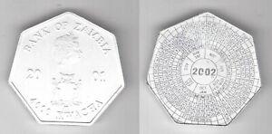 ZAMBIA SILVER 4000 KWACHA UNC COIN 2001 YEAR KM#175 CALENDAR 2002