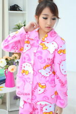 Women Hello Kitty Pink Flannel Button Front Pajamas Set Size L