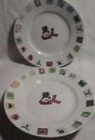 Set of 2 Gibson Festive Snowman Christmas Holiday Shallow Bowls 9 1/4""