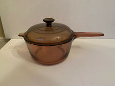 Corning Vision Ware Amber Glass 2.5 Liter Sauce Pan w/Pyrex Lid Cookware Usa Euc