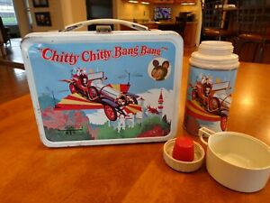 Vintage 1968 Chitty Chitty Bang Bang Metal Lunch Box with Thermos Nice Used Cond
