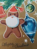 UNUSED Vtg 1950s GINGERBREAD MAN & ORNAMENTS on Tree CHRISTMAS GREETING CARD