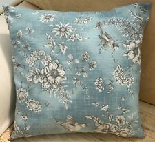Light Blue Printed Birds and Flowers Reversible Evans Lichfield Cushion Cover