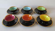 6 tasses et sous tasses Salins La Baule noire et doré couleurs vives année 60