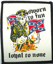 SWORN TO FUN LOYAL TO NONE Vtg 1980`s Printed Patch Biker Motorcycle Rockabilly