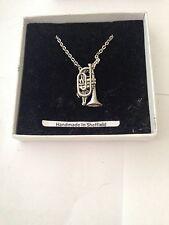 """Cornet PP-M11 Emblem Silver Platinum Plated Necklace 18"""""""