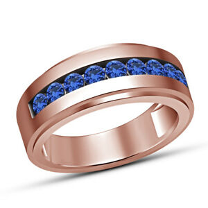 Mens Round Cut Engagement Pinky Ring Blue Sapphire Wedding Band 14k Rose Gold Fn