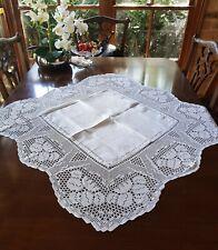 Vintage 1930's White Deep Lace Filet Crochet Tablecloth Lily Pad Pond Design
