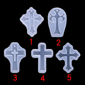 5x Cross Silicone Epoxy Mold Resin Pendant Crafts DIY Jewelry Making Moulds