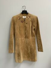 Margaret Godfrey Sz 6 Boho Folk Floral Embroidered Suede Leather Jacket Long