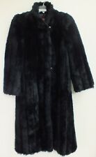 Sasson Faux Fur Coat Vintage Ladies Black Jacket Long Made in USA Fully Lined