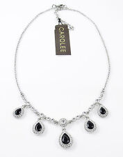 CAROLEE New York 'The Kelly' Jet Black Teardrop Clear Pave Silver-Tone Necklace